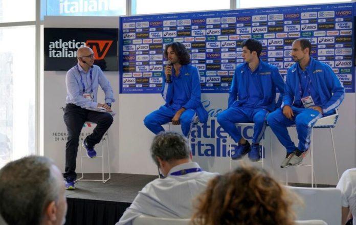 Gimbo Tamberi-Stefano Sottile-Davide Re ( Foto Bizzotto casa Atletica Italiana)