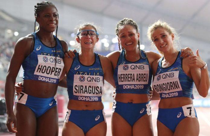 4x100 femminile - Doha (Foto Colombo Fidal)