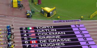 Partenza finale 100 metri Doha 2019 (foto world athletics)