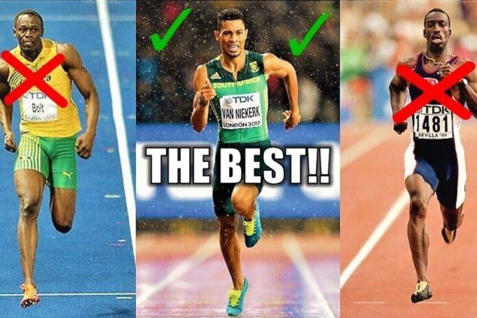 Usain Bolt-Waide van Niekerk-Michael Johnson (foto archivio)