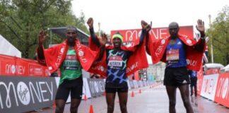 Podio Maratona Londra 2020 (foto organizzatori)