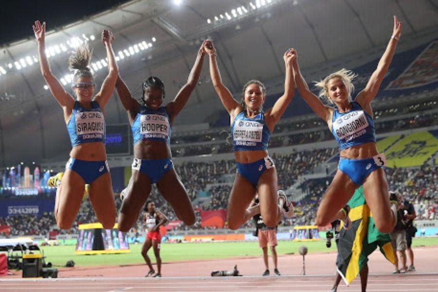 Staffetta 4x100 femminile-Doha (foto Colombo/FIDAL)