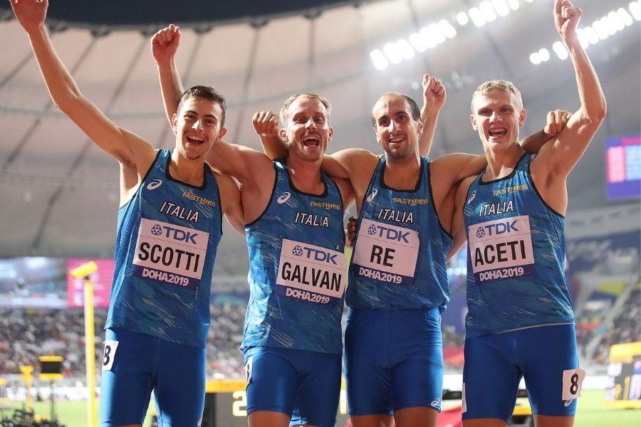 Staffetta 4x400 maschile Doha 2019 (foto Colombo/FIDAL)