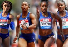 Sha'Carri Richardson-Dina Asher Smith-Shelly Ann Fraser Pryce-Elaine Thompson Herah (foto world athletics)