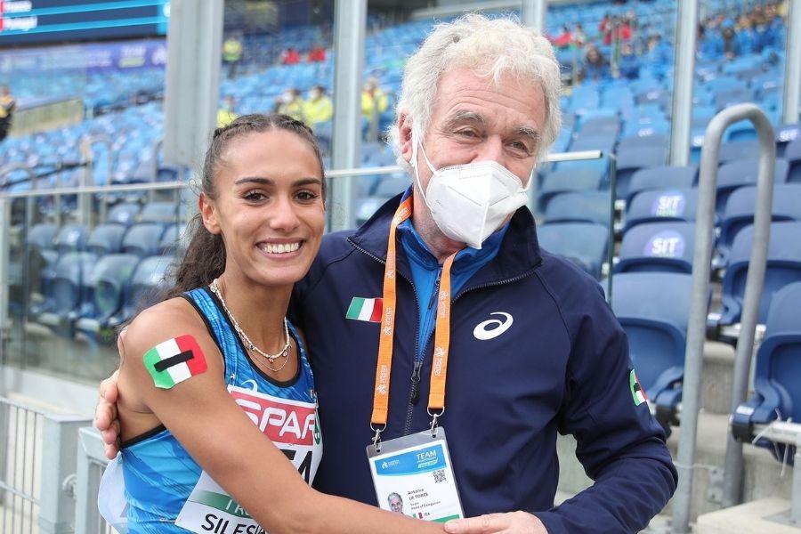 Antonio La Torre con Dalia Kaddari a Chorzow (foto Colombo/FIDAL)