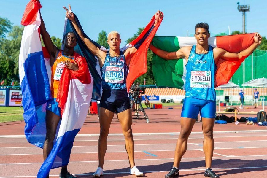 Podio 110 H Europei Juniores Tallinn 2021 (foto Lackner/FIDAL)